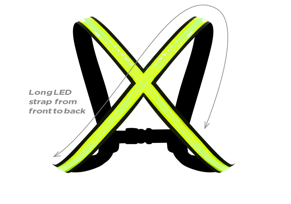 StreetGlow High-Visible LED Vest, Warnweste mit LED-Licht